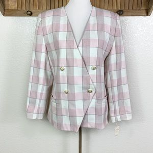 80s NWT Pink Buffalo Plaid Herringbone Blazer